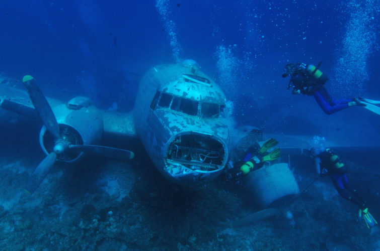 Plane wreck dive location Bodrum